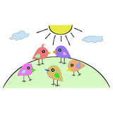 Colorful little birds go on the hill in the sun. Birds from simple shapes drawn on the nature of a sunny day Stock Photo