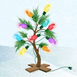 Colorful Little Christmas tree on a stand with glowing lights stock illustration