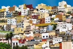 Colorful Little Houses Cityscape in Greece. Holiday and Summer Background.  royalty free stock photography