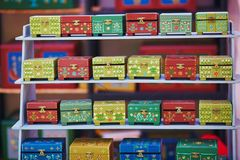 Colorful little jewel boxes on Easter fair in Vilnius Stock Photo