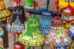 Colorful little painted souvenir bells of Lviv. Ukraine Stock Photo