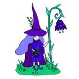 Olorful little sorceress with a staff in the form of a flower. Colorful little sorceress with a staff in the form of a flower gathers medicinal herbs. Fantasy is vector illustration