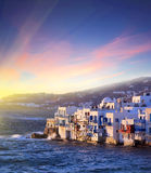 Colorful Little Venice of Mykonos island at  sunset , Greece Royalty Free Stock Image