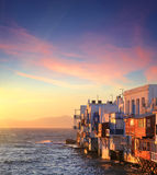 Colorful Little Venice of Mykonos island at sunset , Greece Stock Image