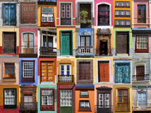 Colorful living. European doors and windows of Mediterranean Stock Image