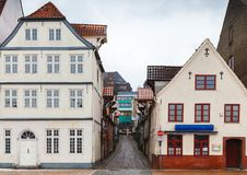 Colorful living houses of Flensburg, Germany. Street view with traditional colorful living houses of Flensburg, Germany Stock Photography