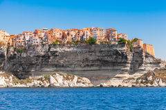 Colorful living houses on rocky coast, Bonifacio Royalty Free Stock Images