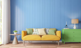 Colorful living room 3d rendering image. There are wood floor decorate wall with blue wooden plank .There are large windows look out to see the nature Stock Images