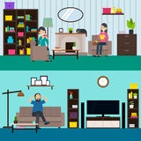 Colorful Living Room Horizontal Banners Stock Image