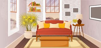 Colorful living room of a house. In suburb neighborhood Royalty Free Stock Images
