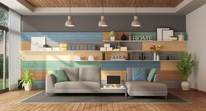Colorful living room of a modern villa royalty free stock images