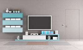 Colorful living room with tv stand stock illustration