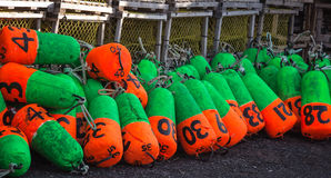 Colorful lobster buoys Royalty Free Stock Photography