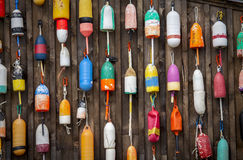 Colorful Lobster Trap Buoys Stock Images
