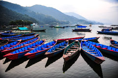 Colorful local boat in the beautiful lake,Nepal Royalty Free Stock Photo