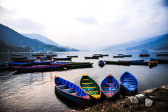 Colorful local wooden boat in the beautiful lake Royalty Free Stock Images