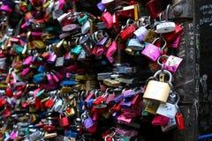 Colorful locks at Juliet's house (Casa Capuleti) in Verona, Italy Stock Photo