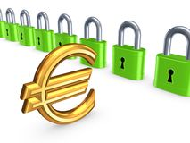 Colorful locks and sign of euro. Royalty Free Stock Photo