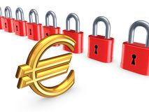 Colorful locks and sign of euro. Stock Photos