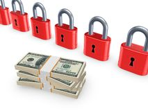 Colorful locks and stack of dollars. Royalty Free Stock Images