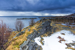 Colorful Lofoten Islands Scenery Against Snowy Mountains Royalty Free Stock Photos