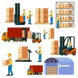 Colorful Logistic Warehouse Set Stock Photo