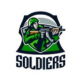 Colorful logo, badge, emblem of a soldier shooting from a submachine gun. Soldier in uniform, helmet, machine gun stock illustration