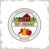 Colorful logo of fresh and healthy organic food with farm landscape and vegetables. Vector illustration Royalty Free Stock Photo