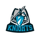 Colorful logo, knight s emblem in iron armor. A warrior of the Middle Ages, a knight holds a shield and a sword. Swordsman, warrior, defender, lettering royalty free illustration