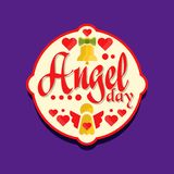 Colorful logo or label for Angel day celebration. Holiday retro card design with yellow bells and red hearts, festive. Sticker or tag for gift. Vector Stock Images