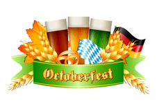 Colorful logo for postcards and greetings with Oktoberfest. Three beer glasses, spikelets, pretzel and flags of Germany and Bavaria,  on white. Vector Stock Photos