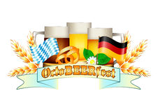 Colorful logo for postcards and greetings with Oktoberfest. Three beer mugs, spikelets, pretzel and flags of Germany and Bavaria,  on white. Vector Royalty Free Stock Photography