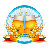 Colorful logo for postcards and greetings with Oktoberfest. Two beer mugs, spikelets and leaves of maple on round figure,  on white. Vector illustration Royalty Free Stock Photography