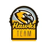 Colorful logo, sticker, emblem of a hawk. Flying bird, hunter, predator, dangerous animal, shield, lettering. Mascot. Colorful logo, sticker, emblem of a hawk Stock Photography
