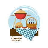 Colorful logo summer picnic with charcoal grill and burger and picnic basket over tablecloth. Vector illustration Stock Images
