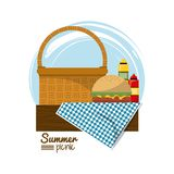 Colorful logo summer picnic with picnic basket on table over tablecloth with burger and sauces. Vector illustration Stock Images