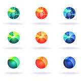 Colorful logos. Set of nine colorful symbols Stock Photos