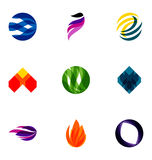 Colorful logos. A set of colorful design patterns for logos Stock Photos