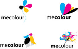 Colorful logos. Illustrated collection of Colorful logos isolated on white Stock Images