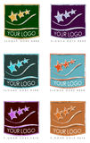 Colorful logos for business cards. A series or collection of colorful, artistic logos for business cards or advertisements Royalty Free Stock Photos