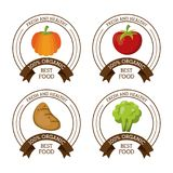 Colorful logos set of fresh and healthy organic food with pumpkin apple potato and broccoli. Vector illustration Royalty Free Stock Photography