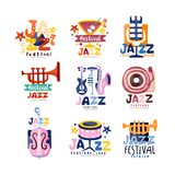 Colorful logos set for jazz festival or live concert. Emblems with guitar, saxophone, retro player, trumpet, microphone. Colorful logos set for jazz festival or Royalty Free Stock Images