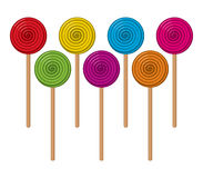 Colorful lollipop candies in the form of balls, vector  Stock Photo