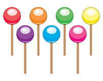 Colorful lollipop candy balls, vector  Royalty Free Stock Images