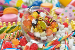 Colorful lollipop and candy Stock Photos