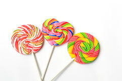 Colorful lollipop on white background Royalty Free Stock Image