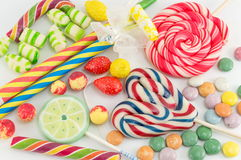 Colorful lollipops bonbons and candies Royalty Free Stock Photo