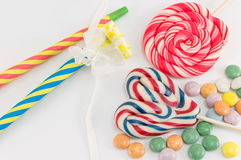 Colorful lollipops bonbons and candies Royalty Free Stock Image