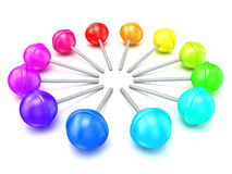 Colorful lollipops, circle arranged. 3D render Royalty Free Stock Photography