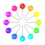 Colorful lollipops, circle arranged. Top view. 3D Royalty Free Stock Photos